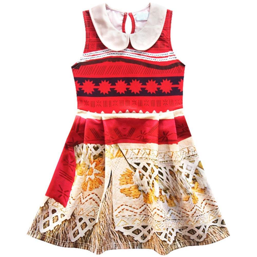 KUFV Moana Little Girls Dress Princess Cartoon Printed Dress