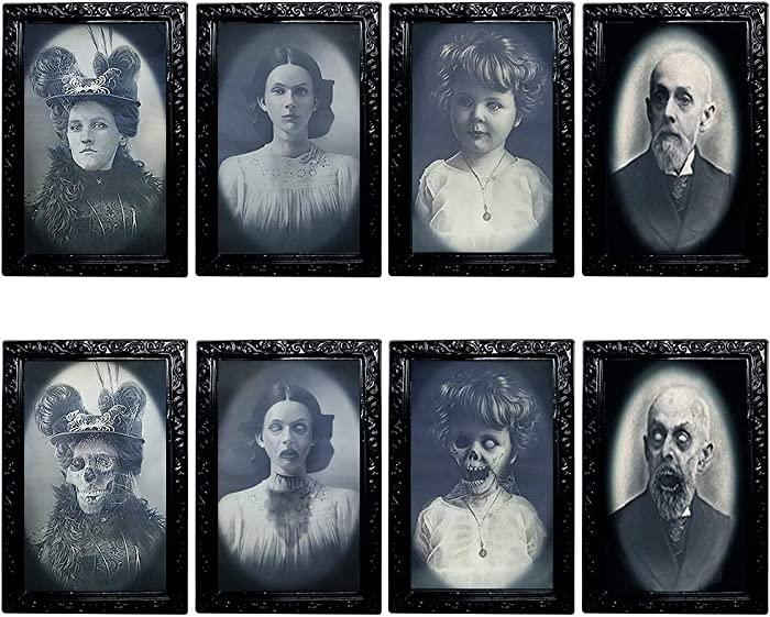 YBB 4 Pack Halloween Moving Picture Frame, 3D Changing Face Horror Portrait Scary Decoration for Home Halloween Party, Castle, Haunted House Decor