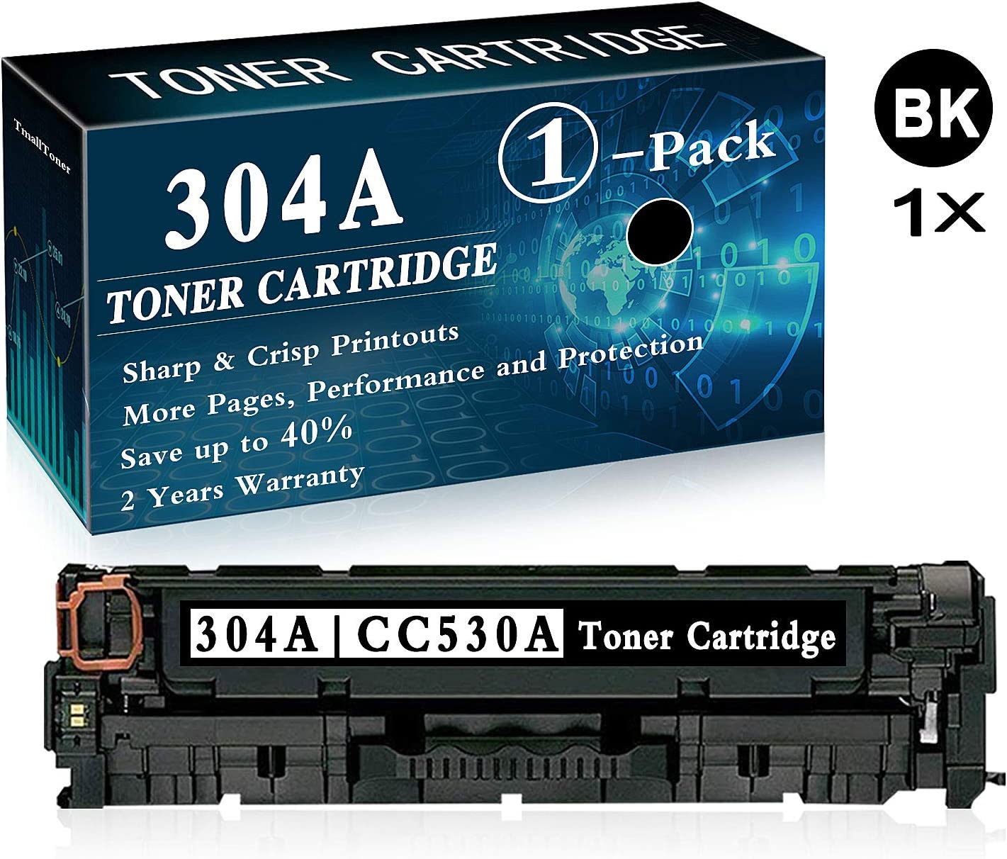 1 Pack Black 304A CC530A Remanufactured Toner Cartridge Replacement for HP Color Laserjet CP2025 CP2025n CP2025dn CP2025x CM2320n CM2320fxi CM2320nf MFP Printer Toner Cartridge