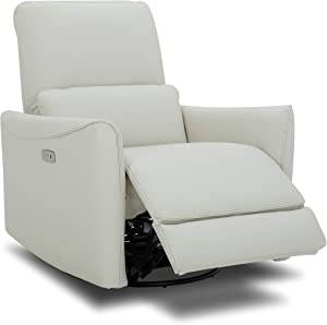 CHITA Power Recliner Swivel Glider,Upholstered Faux Leather Living Room Reclining Sofa Chair with Lumbar Support, Cream