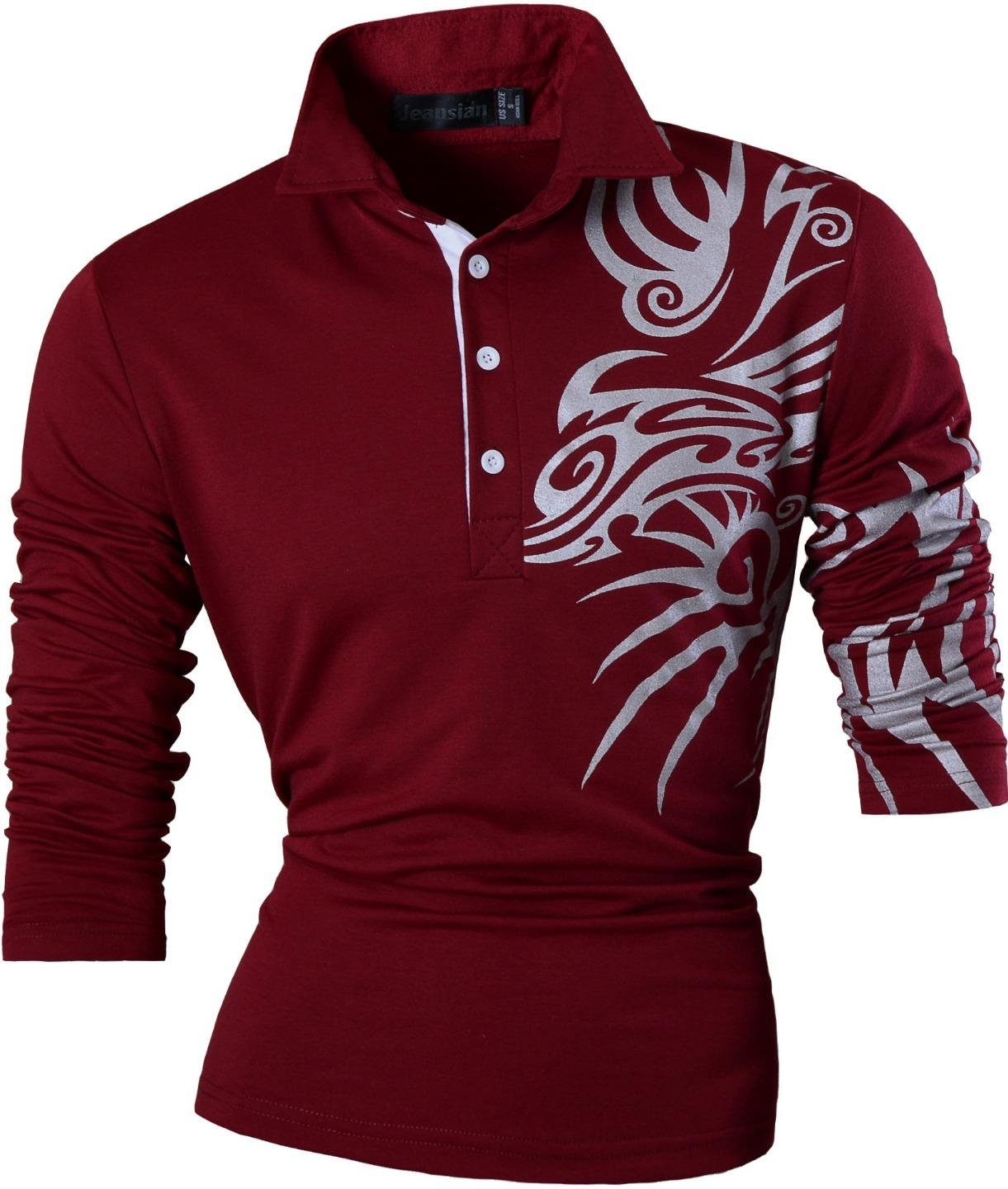 jeansian Men's Slim Fit Long Sleeves Casual POLO Tees Shirts T-Shirts U005