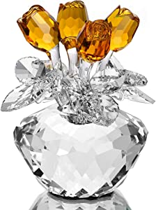 H&D Spring Bouquet Crystal Glass Flowers Yellow Rose Figurine Ornament Gift-Boxed