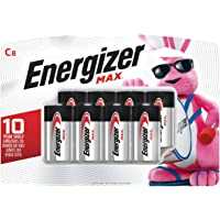 Energizer C Batteries Max Alkaline C Cell Size, 8 Count, (Pack of 1)