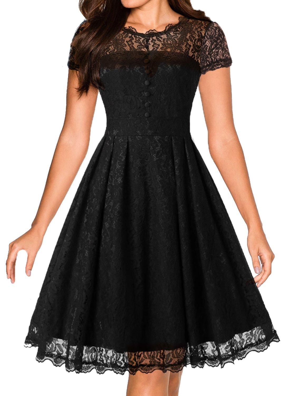 Unbranded* Women's Vintage 1950s Style Lace Flare Swing Formal Dress Black L
