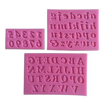 3pcs Mini silicona torta molde Bakeware DIY letra y número Fondant arte decoración de molde de la torta hecha a mano para la cocina para hornear rosa: ...