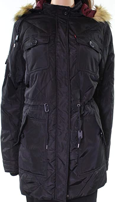 ouxiuli Mens Zip Quilted Hoodies Plaid Thicken Fashion Loose Fit Down Jacket Coat