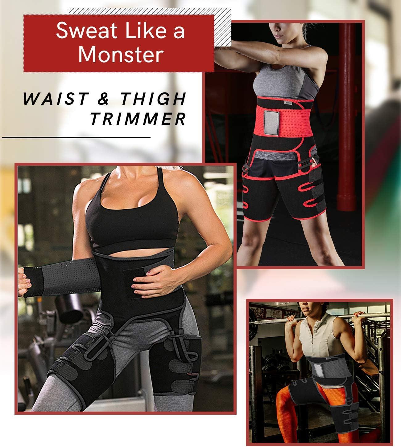 COMFREE 3 in 1 Waist Trainer Faja Reductora Adelgazante Mujer Neopreno Ajustable Cintura Cintur/ón de Sudor Lumbar Butt Lifter