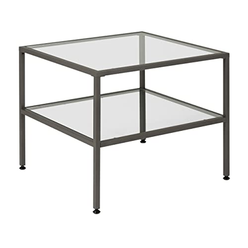 Studio Designs Home .0 Camber One Shelf End Table In Pewter With Clear Glass