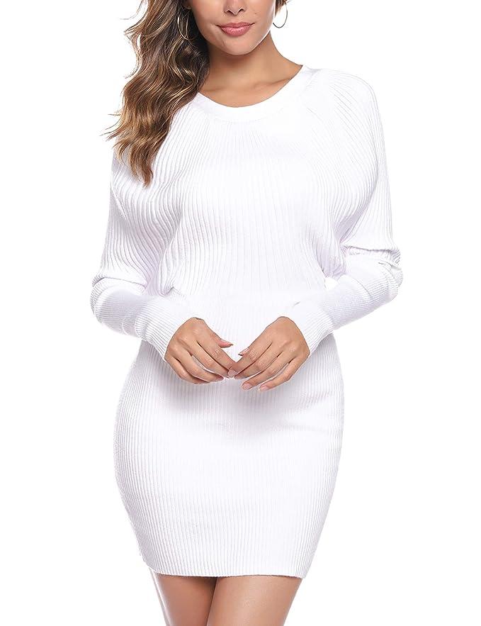 Aibrou Jersey de Cuello Redondo para Mujer, Suéter de Manga Larga Elasticidad elástica suéter Slim fit Vestido de una Pieza