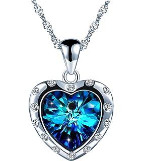 c0630aaac402b SIXLUO Collier femme fille en style Swarovski Pendentif saphirin le cœur  clignotant Bijou classique en argent
