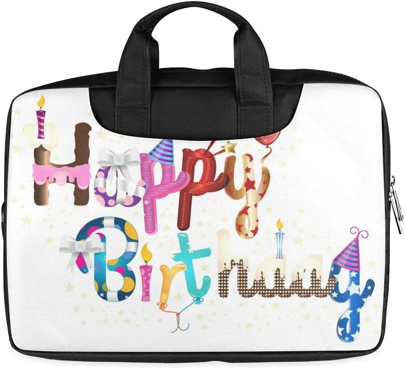 Twin Sides Printing Laptop Notebook Happy Birthday Gift Handle Sleeve Bag Case Cover for 15 inches MacBook Pro