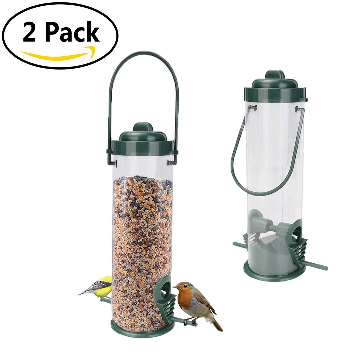 Originalidad Bird Feeder – Classic Tube Hanging Feeders for Finches Bird Seed and More, Weatherproof, Premium Plastic with Hanger, Great for Attracting Birds Outdoors, Backyard, Garden (2 Pack)