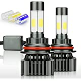 Zdatt 12000LM 9007 HB5 LED Headlight Bulbs Super Bright 100W High Low Beam Conversion Kits 360 Degree(4 Sides) Lighting Lamps for Car Light Replacement-3000K Yellow/6000K Cool White/8000K Blue(2 Pack)