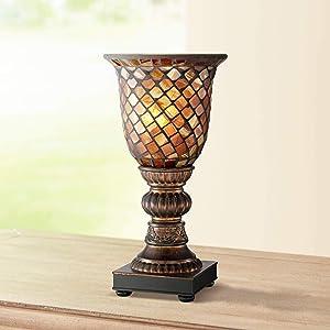 "Mosaic Brown Glass 12"" High Uplight Accent Lamp - Regency Hill"