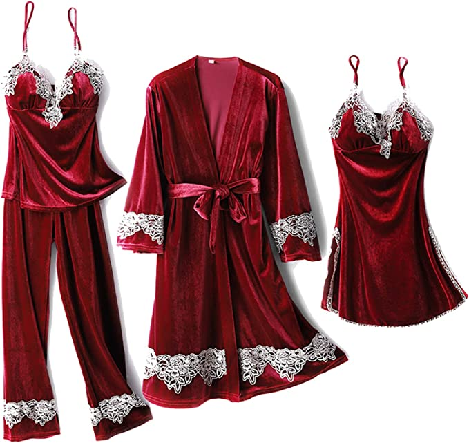 Vintage Nightgowns, Pajamas, Baby Dolls, Robes Superora4 PCS Pajamas Set Nightdress Sleepwear Robe Home Wear Sexy Velvet Women £30.99 AT vintagedancer.com