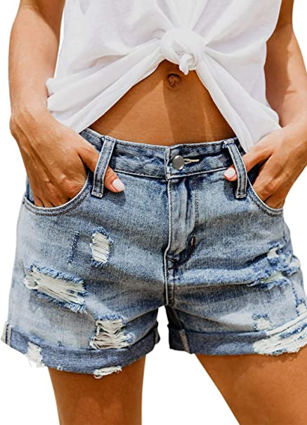 Damen High Waist Jeans Boyfriend Kurze Hose mit Ausgefranstem Saum