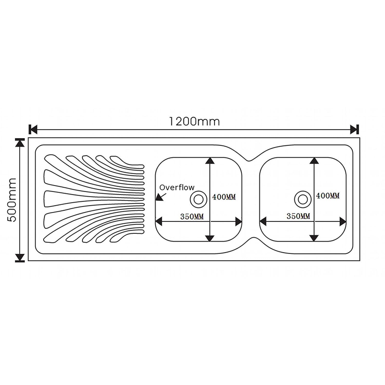 ENKI /Évier /à poser 2 bacs carr/és avec /égouttoir acier inoxydable