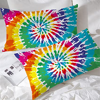 2a9fcf8e4f74b BlessLiving Rainbow Tie Dye Pillow Cases Colorful Tye Dye Pillow Sham Set  of 2 Pillow Protector Cover Case (Queen)
