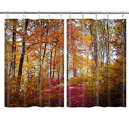 Jawo Autumn Forest Kitchen Curtains Natural Landscape Fall Red And Yellow Leaves Kitchen Decorations Window Drapes Window Treatment Sets Curtains 2