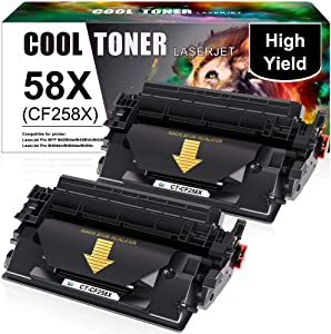 Cool Toner Compatible Toner Cartridge Replacement for HP 58X 58A CF258X CF258A HP Laserjet Pro M404n MFP M428fdw M428fdn M404dn M404dw M304 M404 M428 Printer Ink Toner (Black, 2-Pack)