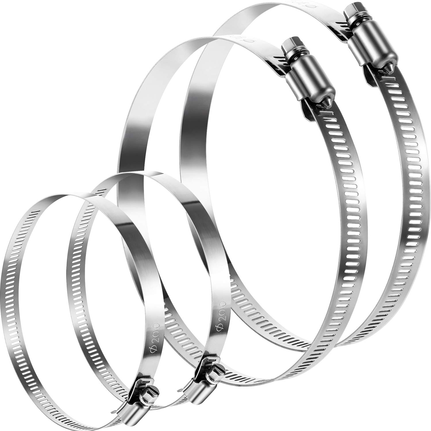 Boao 4 Pieces Adjustable 304 Stainless Steel Duct Clamps Hose Clamp (8 and 12 Inch) by Boao (Image #1)