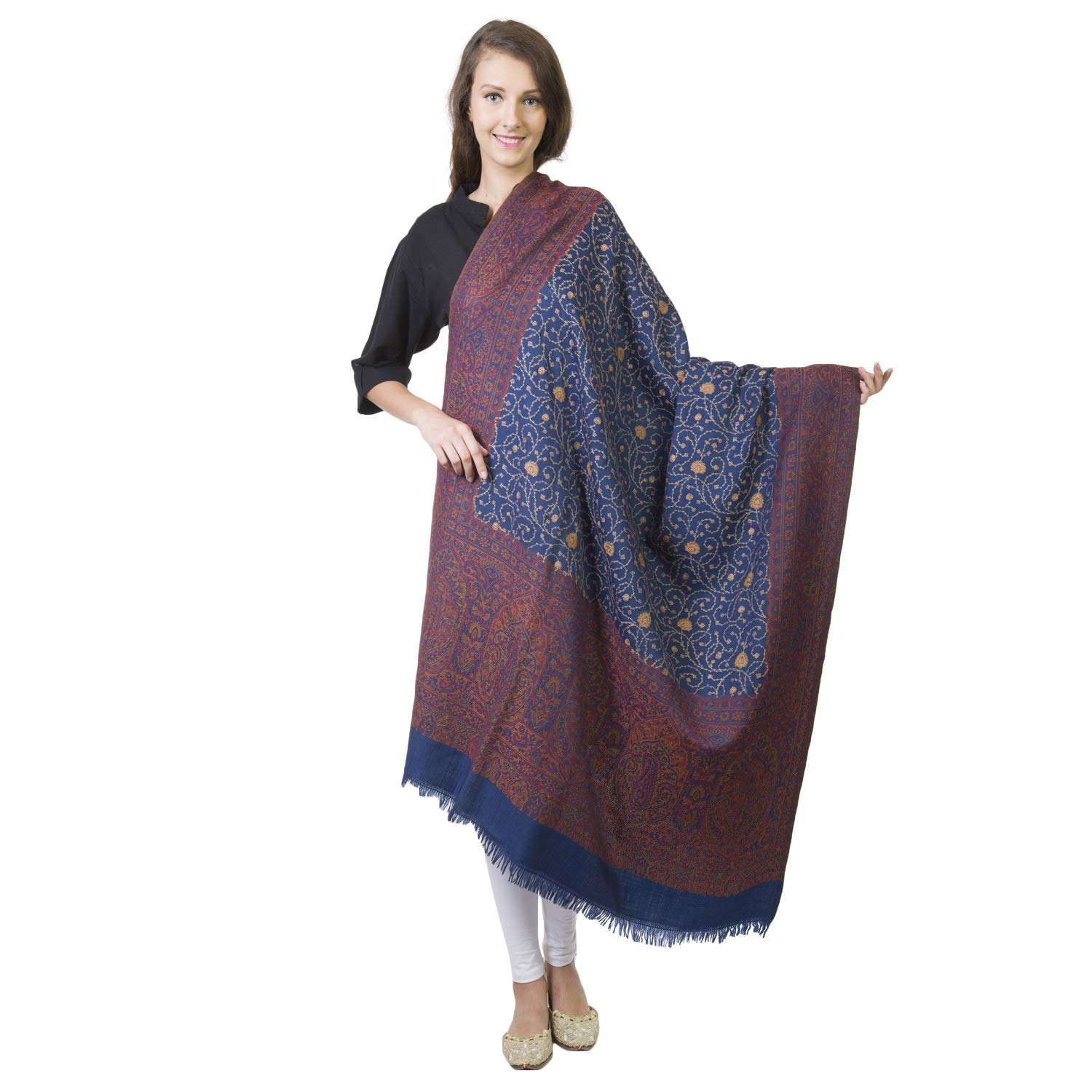 774f7c763 La Vastraa's Pure Wool Hand Embroidery Women's Shawls and Wraps - shawls  and wraps for evening dresses - Blue Shawls at Amazon Women's Clothing  store: