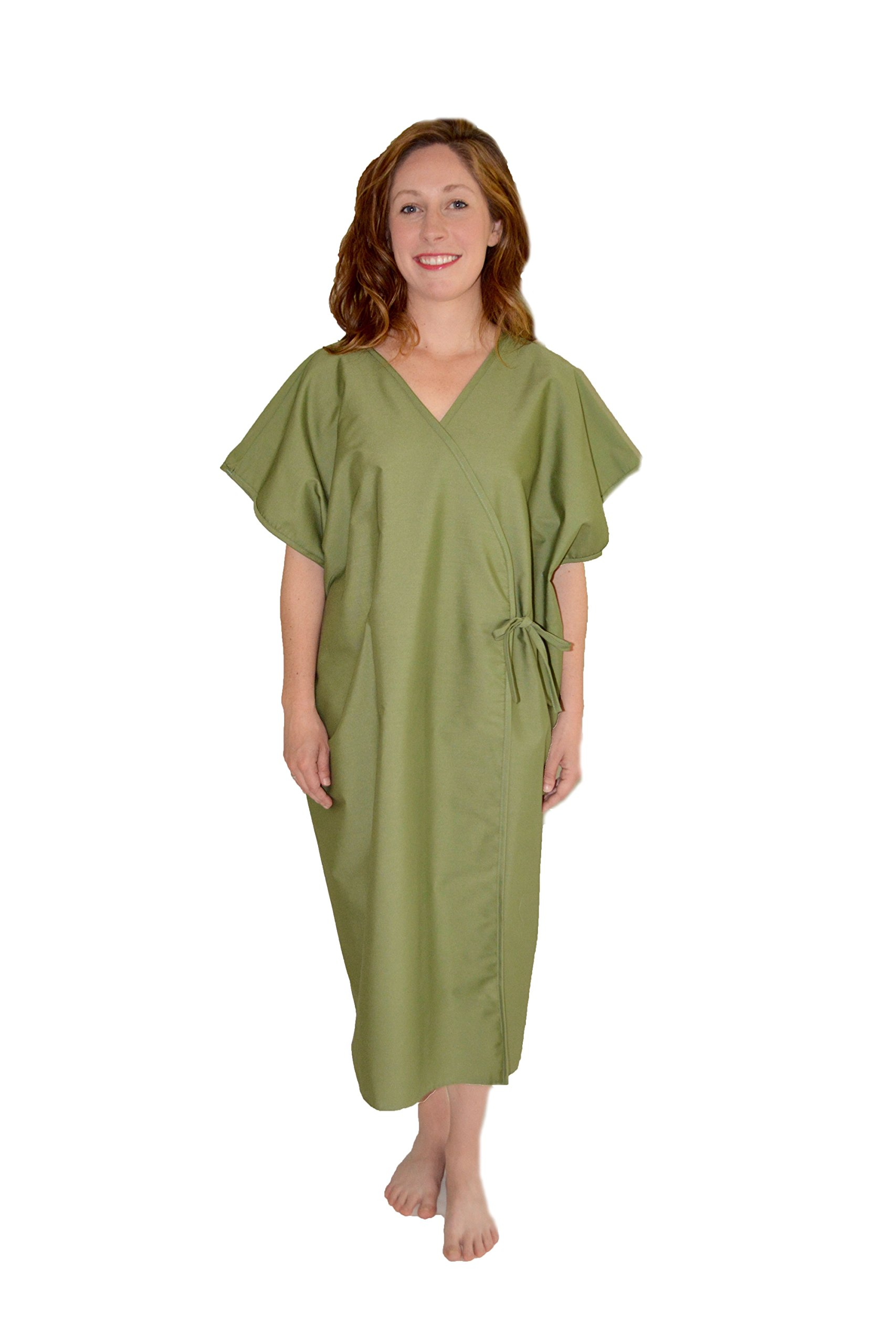 Health Gear- Open Front Kimono Mammography Exam Imaging Gown - Sage Green, M-XL (6 piece pack)