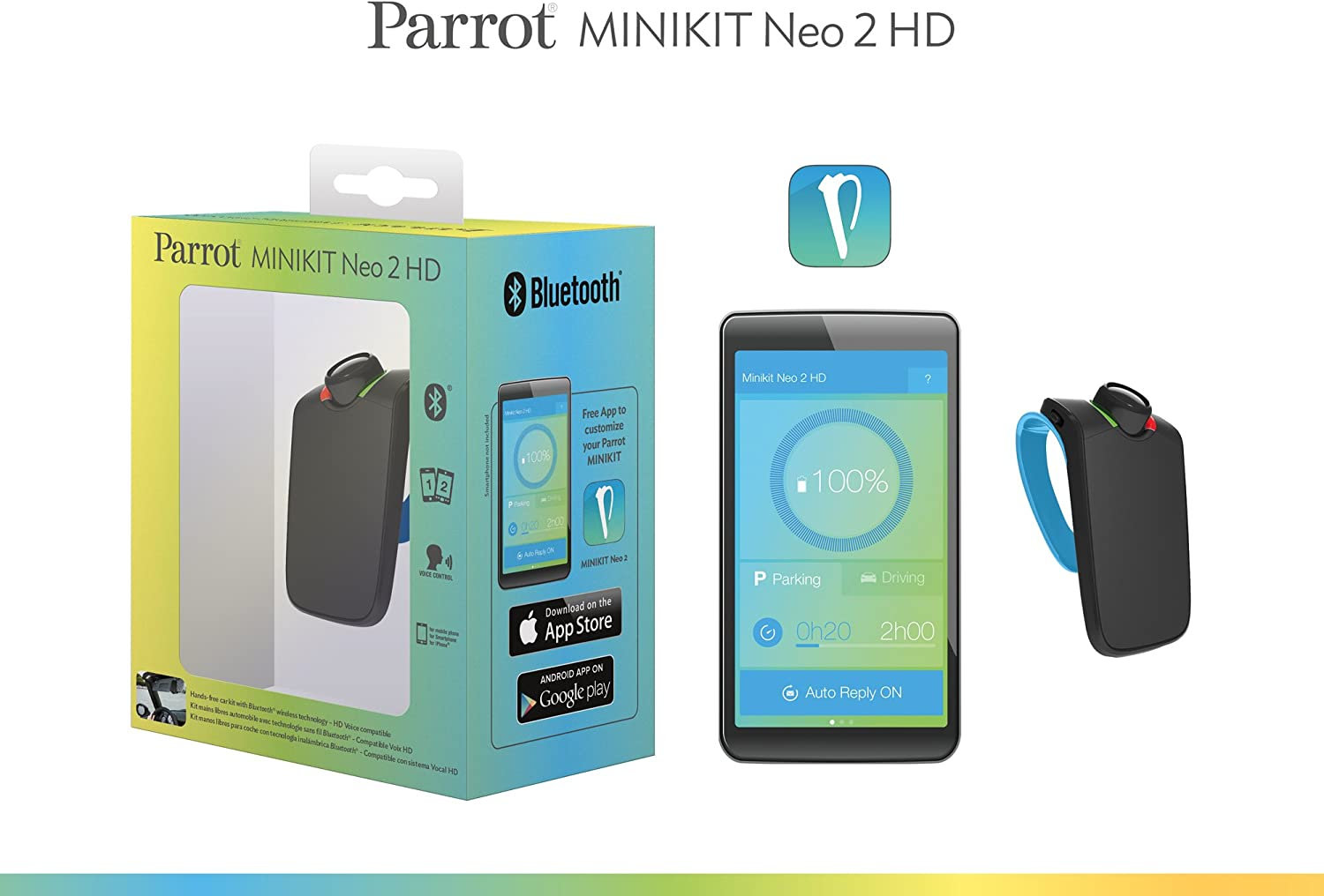 Parrot Minikit Neo 2 HD Voice controlled portable Bluetooth hands-free kit with HD Voice Blue