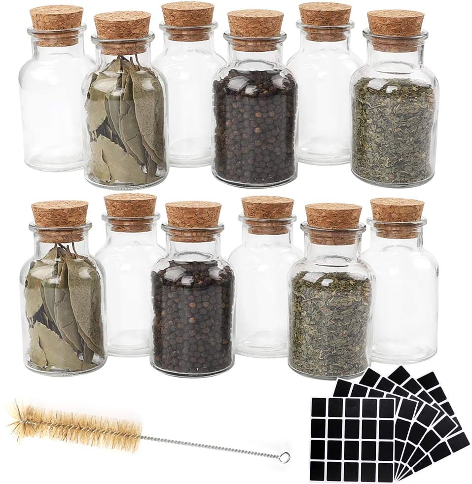 CUCUMI 12pcs 150ml Glass Spice Jars Reusable Spice Jars Bottles Glass Containers with Cork 100pcs Blank Square Stickers 1pcs Test Tube Brush for Storing Tea Herbs and Spices