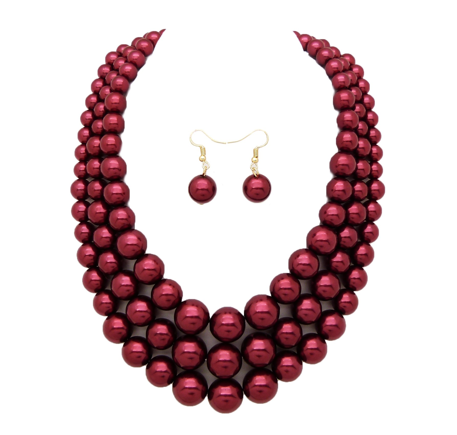 Women's Simulated Faux Three Multi-Strand Pearl Statement Necklace and Earrings Set (Burgundy Wine)