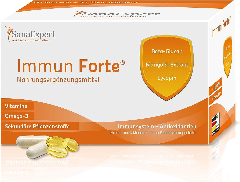 SanaExpert Immun Forte, Suplemento Multivitamínico, Refuerza el Sistema Inmunológico con Omega-3, Zinc, Antioxidantes, Vitaminas y Minerales, 90 ...