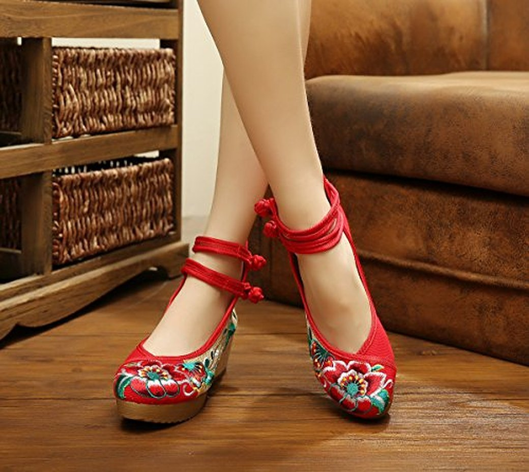 Kool Classic Women's Old Peking Floral Strappy Embroidery Platform Wedges B06WWFVWSK 34 M EU|Red