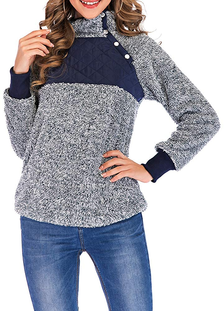 06310e7fb6 Romacci Women s Warm Long Sleeves Fleece Tops Stand Collar Oblique Buttons  Casual Splice Pullover Outwear Coat at Amazon Women s Clothing store