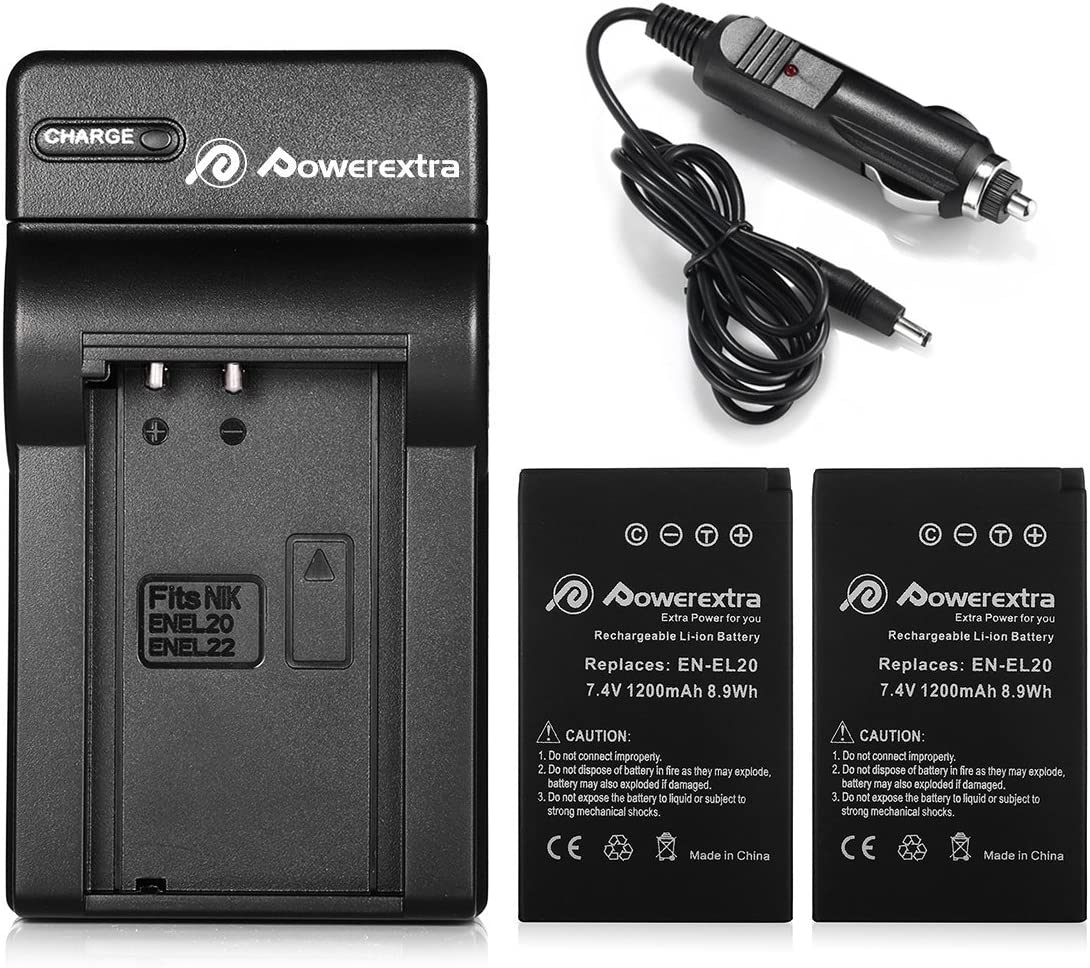 Powerextra 2X EN-EL20a Battery & Car Charger Compatible with Nikon Coolpix P1000, DL24-500, Nikon1 J1, J2, J3, Nikon1 S1, Nikon1 V3, Nikon Coolpix A, ...