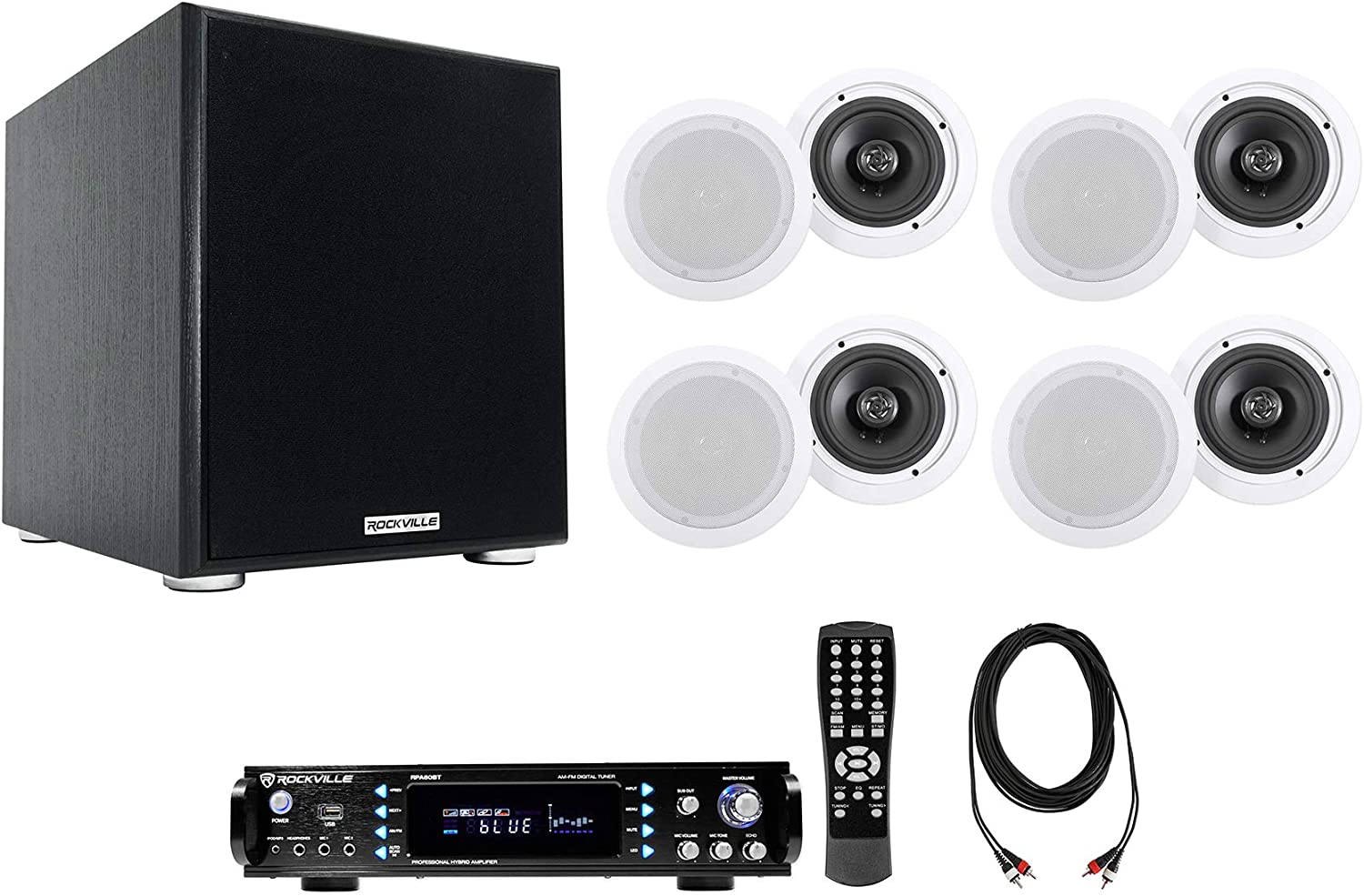 """Rockville Home Theater Audio System w/Amplifier+8) 6.5"""" Ceiling Speakers+10"""" Sub"""
