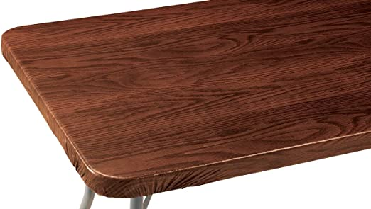 Réutilisable, Wood Grain vinyle élastique Table Cover avec Polaire Revers en 3 tailles