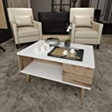 Bravo Melamine Coffee Table - White and Beige, H49 x W90 x D60 cm
