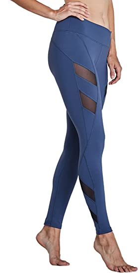 b4c72aacd5 KomPrexx Womens Running Leggings Mesh Yoga Pants Workout Tights Gym  Exercise Fitness Trousers Waist Pockets Activewear