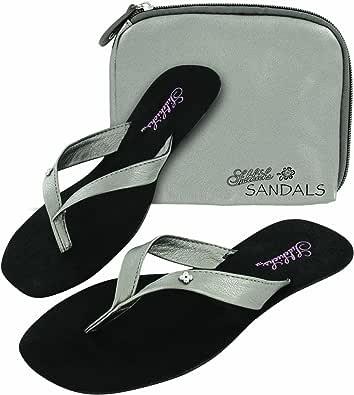 Sidekicks Foldable Flip Flop Sandals w/ Carrying Case SILVER SMALL