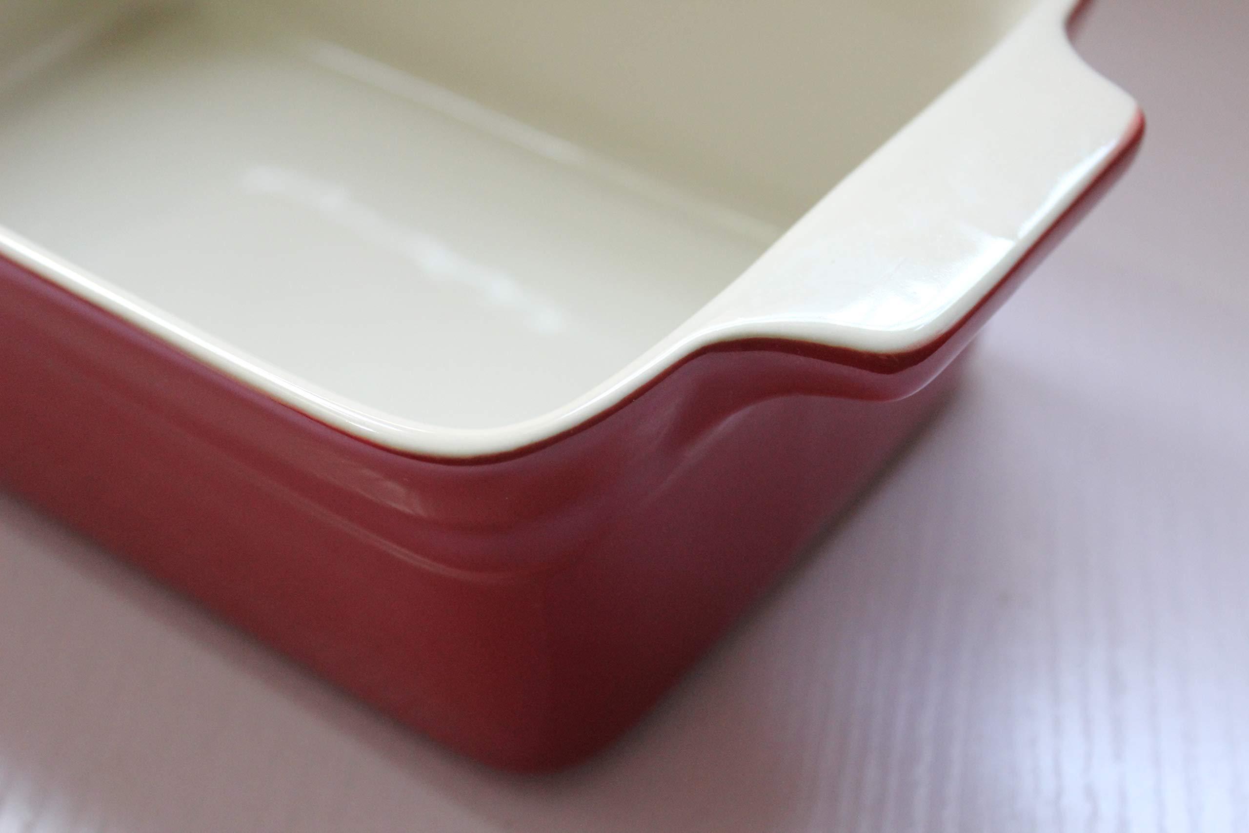 Lonovel Rectangular Baking Dish Roasting Lasagna Pan,11.5-Inch Classic Stoneware Ceramic Large Rectangular Bakers,Red by Lonovel (Image #8)