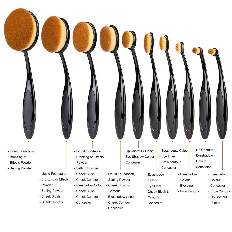 e607ba782e97 Lifestyle-You™ Makeup Brush Oval Toothbrush (Set of 10 pcs) Foundation  Powder Blush Soft Face Brush Set + Silicone Makeup Brush Cleaner Brush Egg
