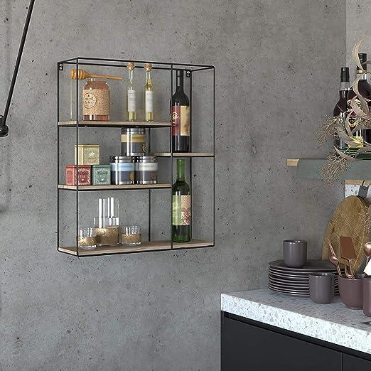 LIYT Cucina mensola Tondo Legno e Metallo Spice Rack