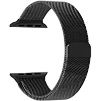 Robustrion Stainless Steel Mesh Milanese Loop Strap with Adjustable Magnetic Closure iWatch Band for Apple Watch Series 3/2/1 - (42mm) Black