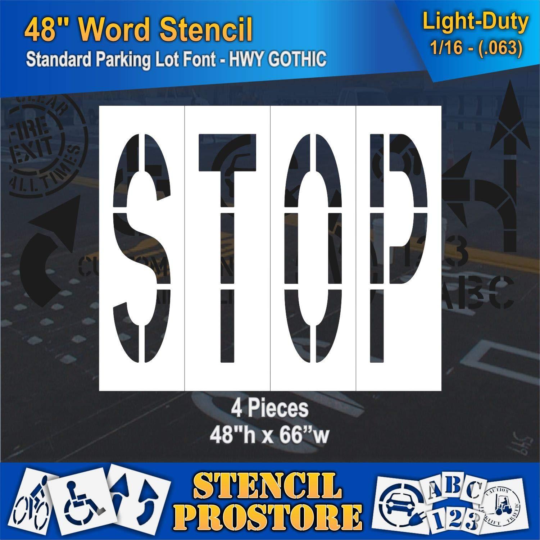 Pavement Marking Stencils - 48 inch Stop Stencil - 48'' x 68'' x 1/16'' (63 mil) - Light-Duty