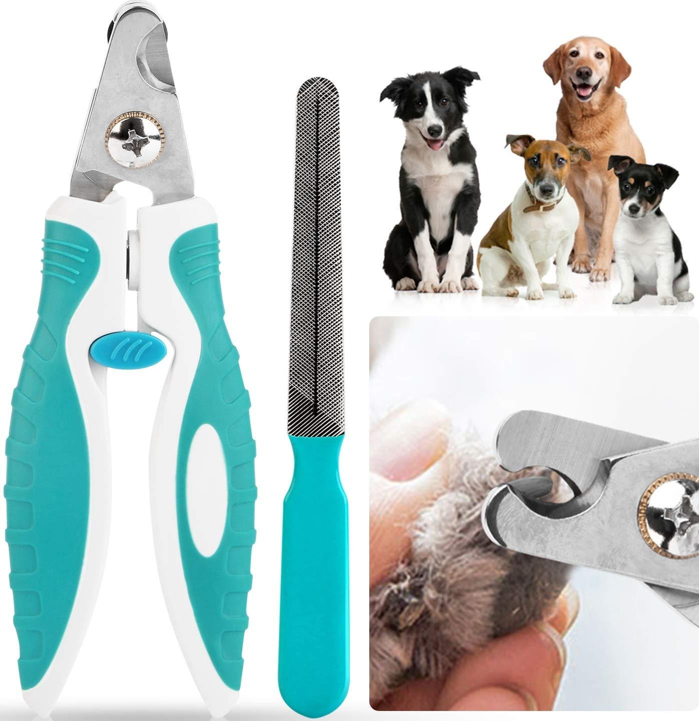 iMounTEK Stainless Steel Professional Pet Dog Nail Trimmer. Razor Sharp Blades, Safety Lock, Ergonomic Design Home Grooming Clipper- Cat/Rabbit/Bird/Puppy. Free Nail File!