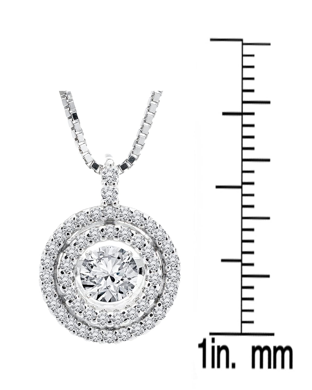 SERAFINA Women s Double Halo White Sapphire Pendant Necklace 925 Sterling Silver Dancing White Sapphire on 18 Chain Beautiful Gift for Her