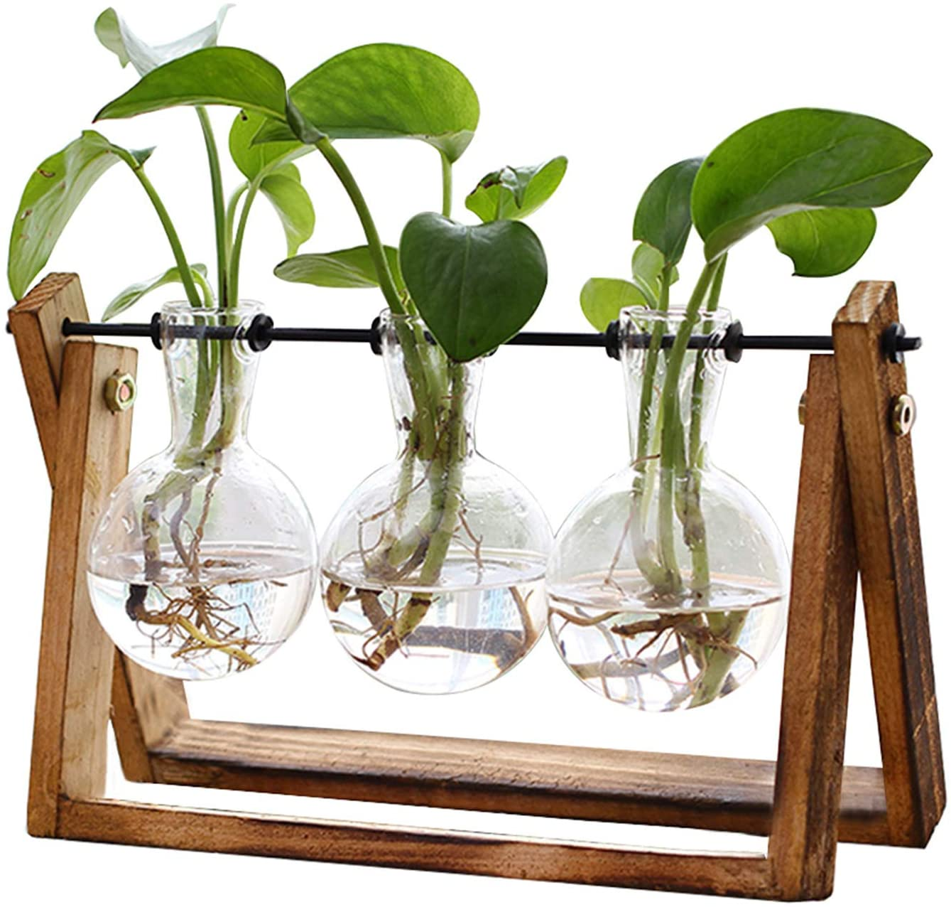 XXXFLOWER Plant Terrarium with Wooden Stand, Air Planter Bulb Glass Vase Metal Swivel Holder Retro Tabletop for Hydroponics Home Garden Office Decoration - 3 Bulb Vase: Pet Supplies