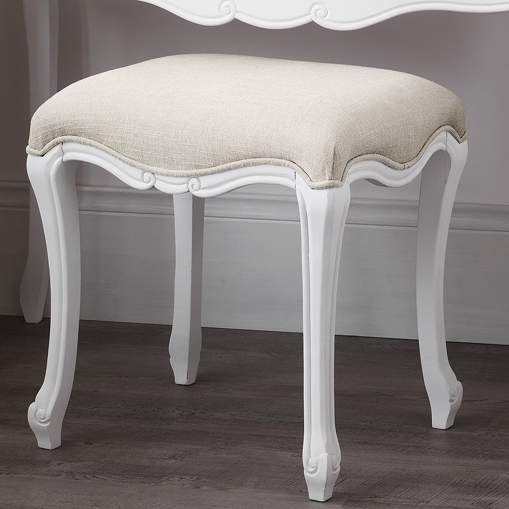 bedroom stools. Juliette Shabby Chic Antique White Stool  SOLID French stool with upholstered seat ASSEMBLED Amazon co uk Kitchen Home