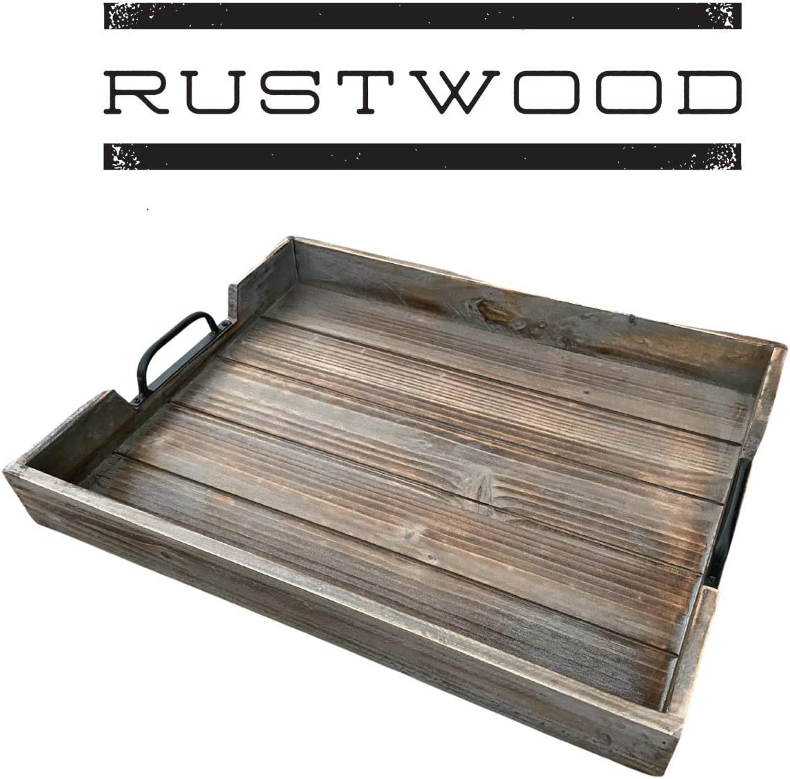 Rustic Wood Tray with Black Handles - Serving Tray & Coffee Table Tray - Ottoman Tray & Decorative Tray - Made with Pine Wood - Rustic Torched Tray for Home Decor and Kitchen Decor - Rustwood (Grey)