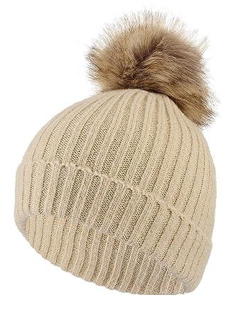 e57c6d9c9fa GEMVIE Bonnet Enfant Chapeau Tricoté Epais en Laine Chaud Fille Garçon avec  Pompon Amovible Taille